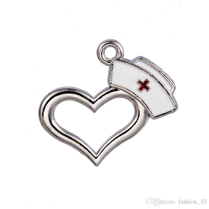 50 pçs / lote Alloy Coração Médico RN Dangle Encantos Enamel Enfermeira Cap Pingente Encantos Para DIY Pulseira Colar de Jóias de Moda YD0041