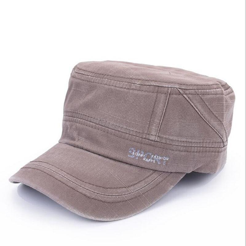 Marca Cap Militar Mens algodão lavado Flat Top militares chapéus para Visor Cap Homens ajustável Outdoor Sports Exército Militar Hat