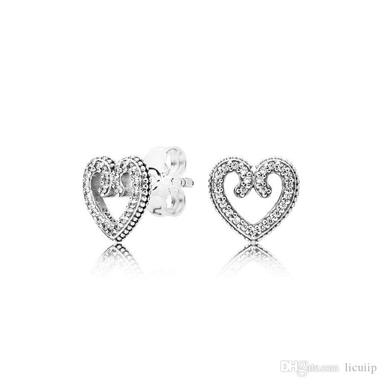 أقراط مصمم فاخر على شكل قلب المربع الأصلي ل باندورا 925 فضة تشيكوسلوفاكيا الماس الحب مربط القرط للنساء