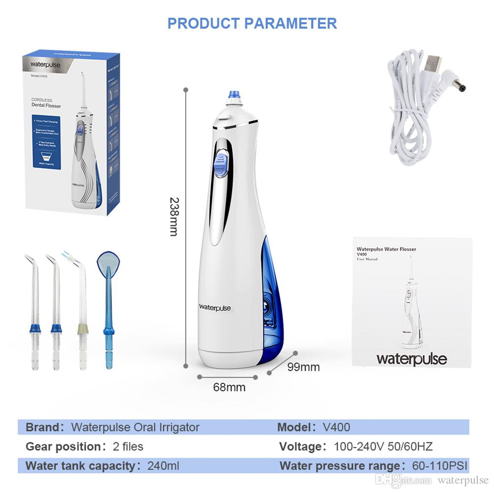 Waterpulse Electric Oral Irrigator Water Flosser Oral Irrigator Mouth Teeth Cleaning Dental Irrigator Portable Water Floss 4 Tips Dental Flo