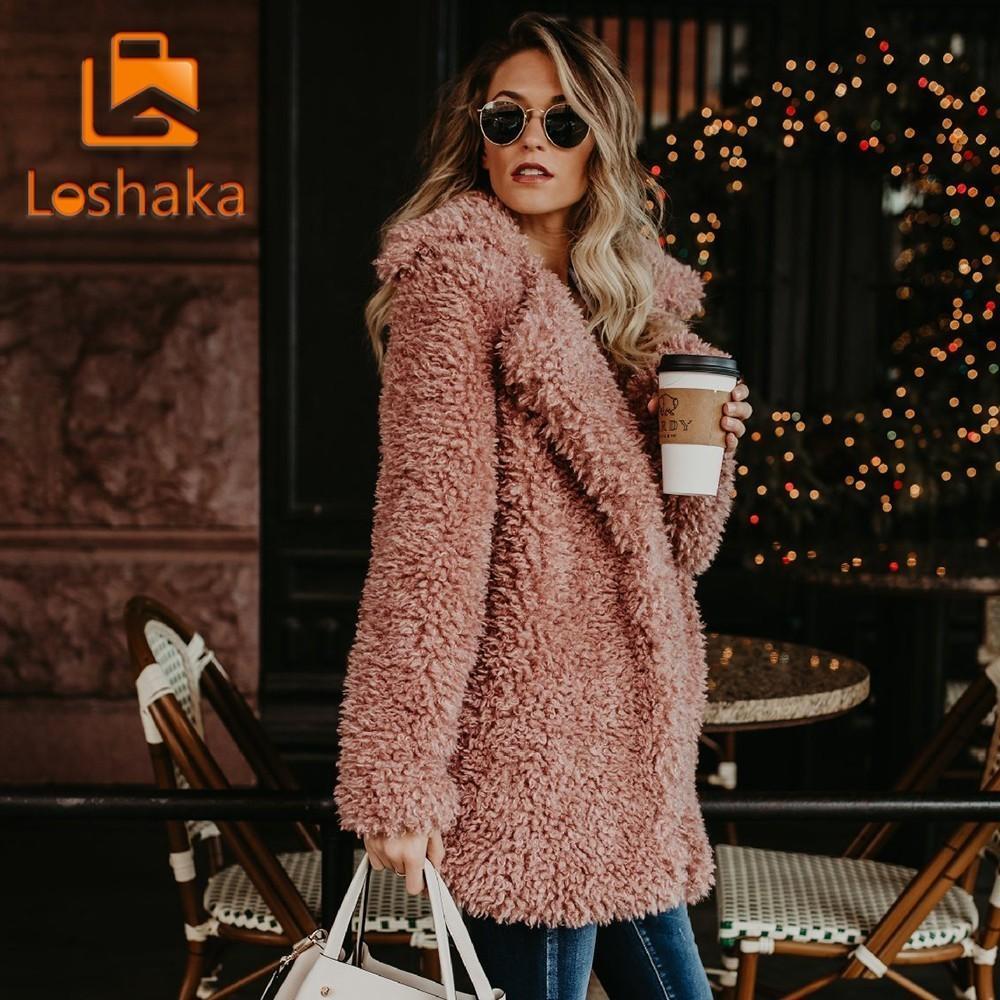 Loshaka 여성 겨울 자켓 코트 가짜 모피 폭탄 자켓 테디 코트 트렌치 양모 핑크 오버 코트 긴 소매 후드가있는 outwear