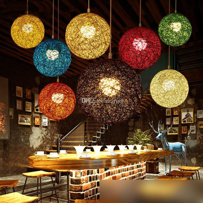 Yaratıcı Kişilik Renkli Kolye Lambaları Restoran Bar Cafe Lambaları Rattan Tarla Makarna Topu E27 Droplight EMS tarafından