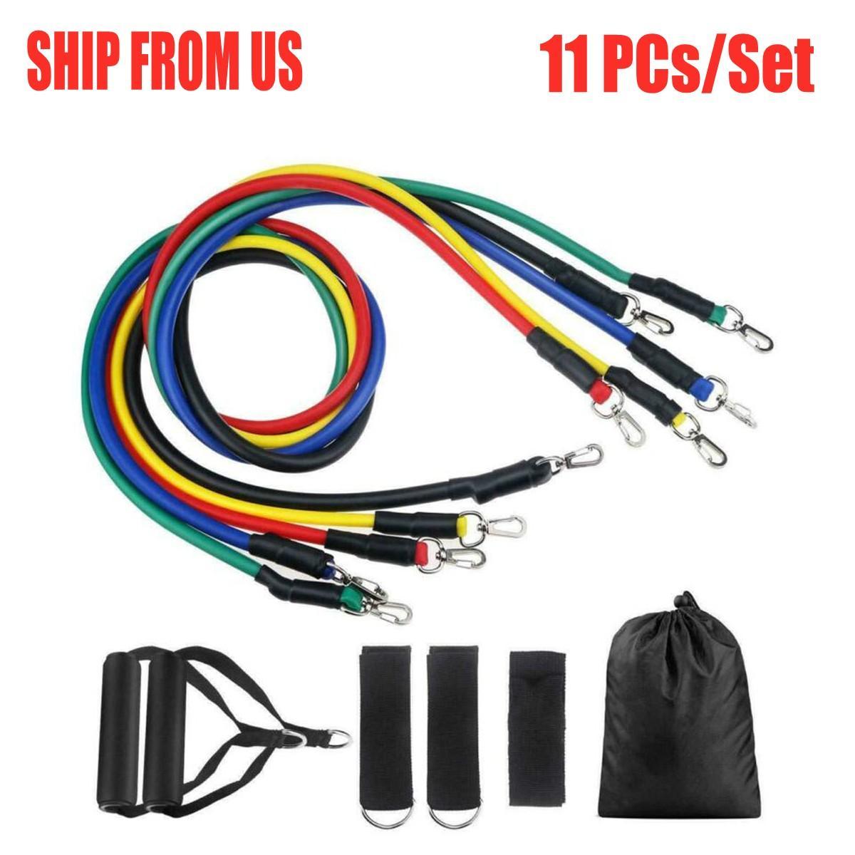 DHL US Stock 11pcs / set tirer la corde Fitness Exercices bandes de résistance latex Tubes Pédale Excerciser Body Training Workout bande élastique