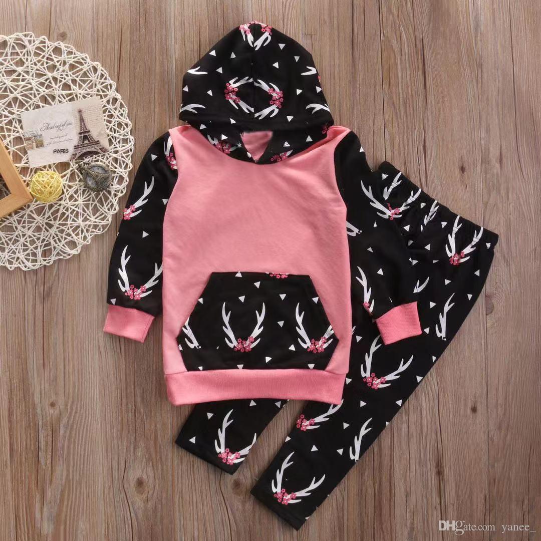 Natale Boutique attrezzature del bambino Ragazza bambino con cappuccio cappotti pantaloni 2pcs Set maniche lunghe Newborn vestiti regolati vestiti svegli del bambino vestiti del bambino