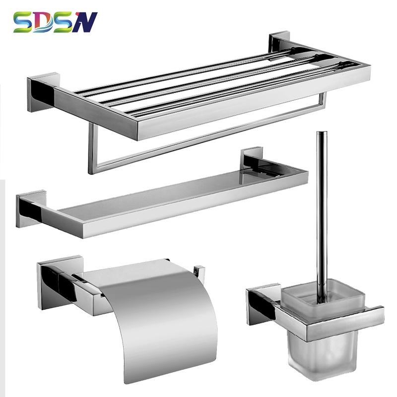 أجهزة باروروم Set SDSN 304 Stainless Steel Bathroom Hardware Sets Paper Holder Towel Rack مرآة Chrome Bath Set