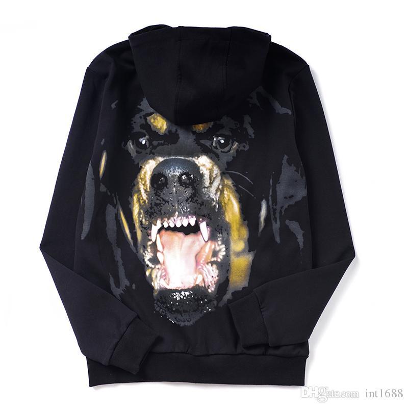 2019 جديد أزياء الرجال طويلة الأكمام البلوز عارضة على عكس صياد الجانب الروت وايلر كلب الطباعة الرأس معطف البلوز هوديي