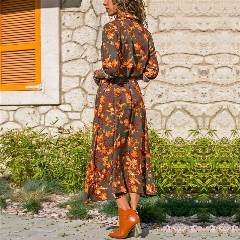 Femmes robe à manches longues Vintage Fashion Flower Imprimer Party Club Bohême Casual V-cou Maxi robe d'été Femmes Robes 4 Styles