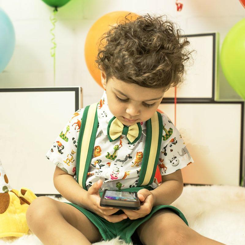 2020 Verano para niños de los bebés del juego formal del arco de los pantalones con tirantes camisetas botón imprimir el equipo ocasional ropa nueva llegada