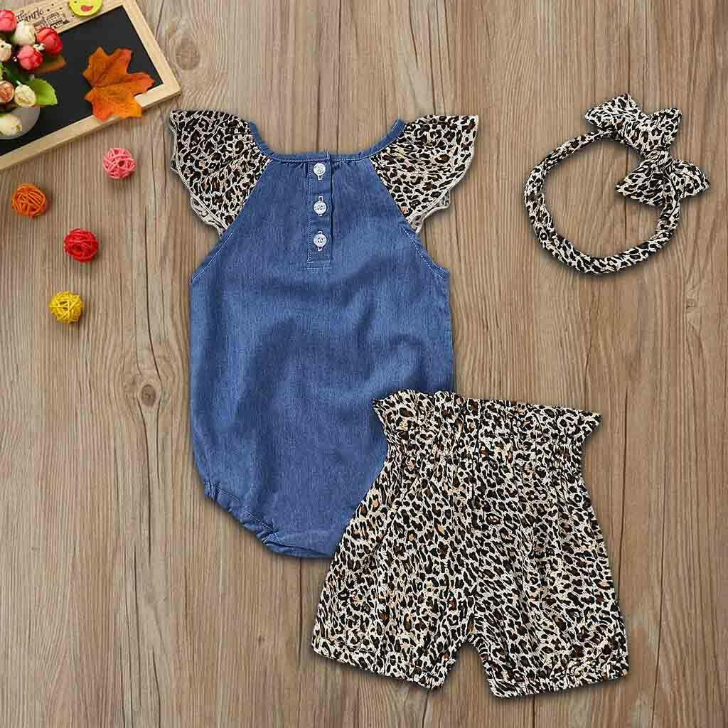 3PCS Baby Girls Denim Set Jumpsuit Romper + imprimé léopard + Shorts Tenues Bandeau