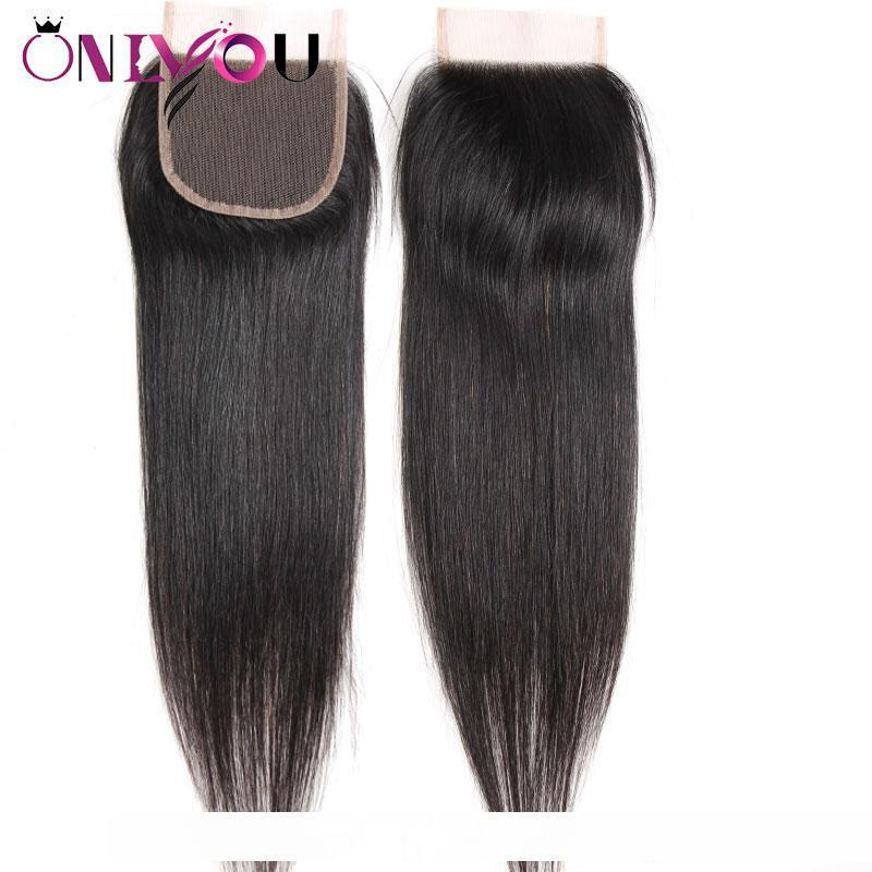 Brazilian Virgin Hair Straight Lace Closure 4x4 Free Middle Part Raw Indian Human Hair Extensions Top Closure Silky Straight Weaves Bundles