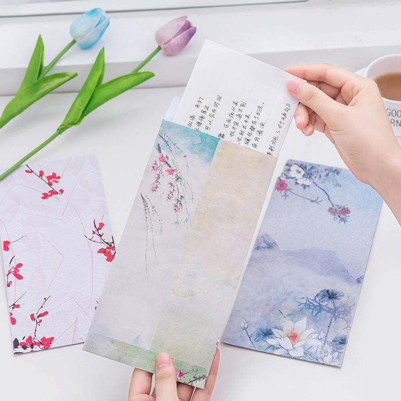 5 pcs Chinês Pintura A Tinta Clássica Estilo China Envelope De Papel Carta Tradicional Estacionária Presente de Casamento Convite de Abastecimento