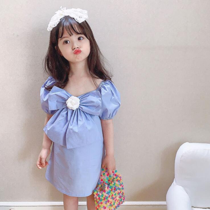 2020 estilo coreano meninas arco meninas algodão de moda vestido de verão vestidos 2-7 anos F344