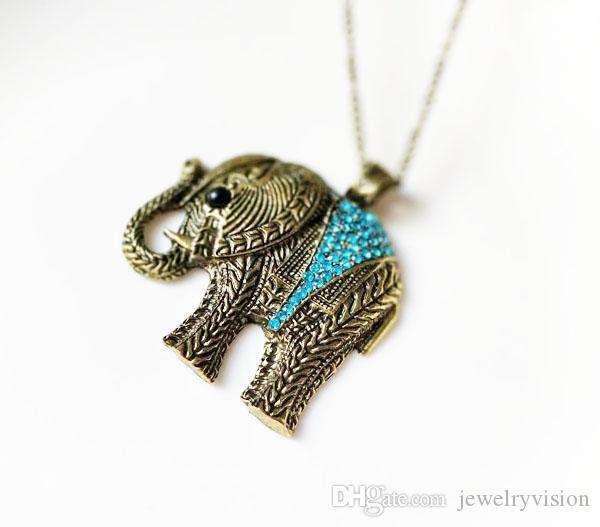 핫 패션 보석 빈티지 코끼리 펜던트 목걸이 스웨터 목걸이