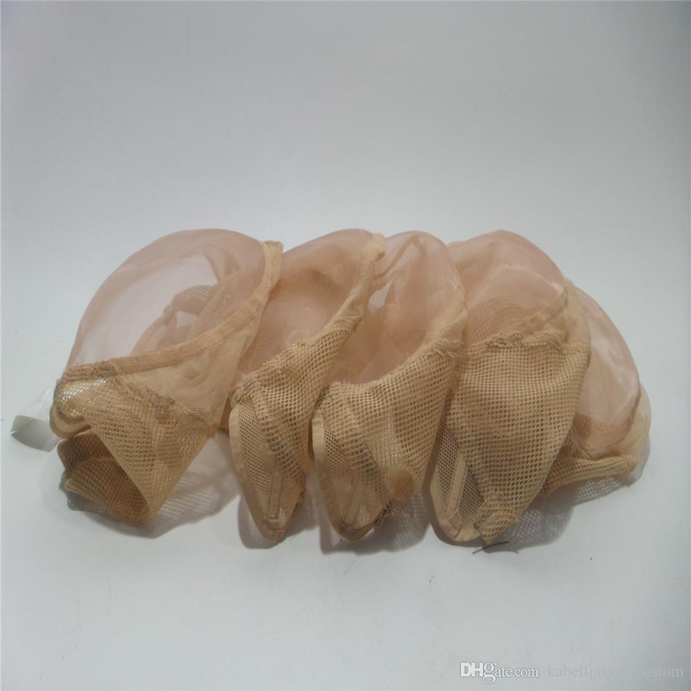 cor luz negra melhor qualidade Cap Mono 5.5 * 5.5 U-Parte Mono Lace Wig Caps para fabricação de perucas 5pc / embalar Bege Frontal com alça ajustável