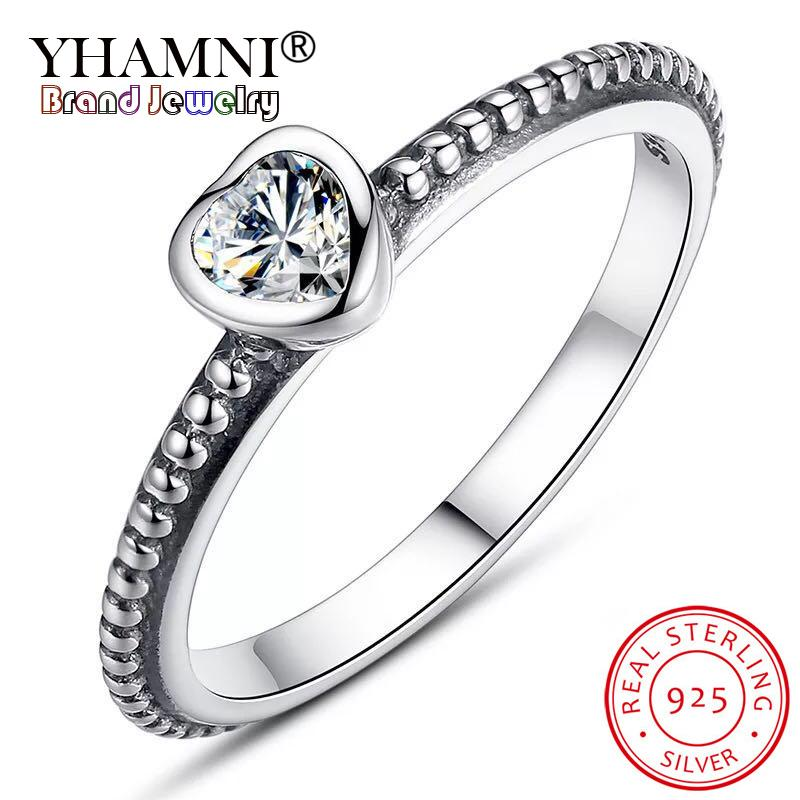 Yhamni جودة عالية 925 الفضة حلقات الزفاف النساء قلوب مع قلوب حلقة لسيدة هدايا عيد الحب هدايا زوجين
