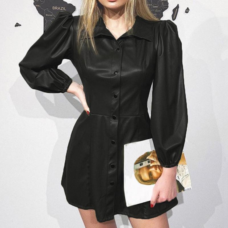 Mode féminine Robes Printemps Automne noir PU Faux robes en cuir 2020 Nouveau Manches longues pour femmes TURN-Col Mini