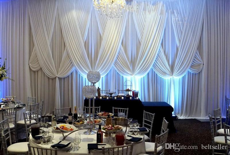 3MX6M نقية بيضاء الزفاف خلفية المرحلة الستار مع draps النسيج لحضور حفل زفاف عيد decortaions الإمدادات