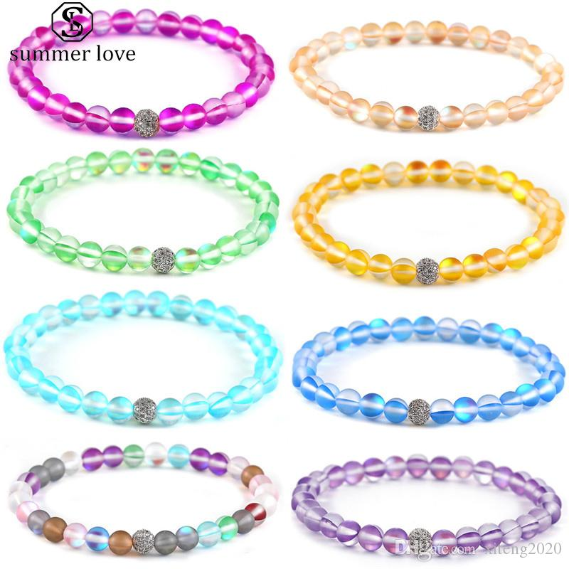 Dia Multi Color Spectrolite Pulseira moda jóias de cobre Zicron Bead amuleto da sorte pulseira Para Mulheres Meninas dos Namorados Presente-Z