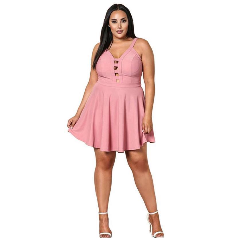 Yaz Kadın Artı Boyutu Elbiseler Etekler Bir Çizgi V Boyun Üstü Diz Yular Halter Elbiseler Ile Seksi Hollow Sapanlar Backless Örme Moda Giyim