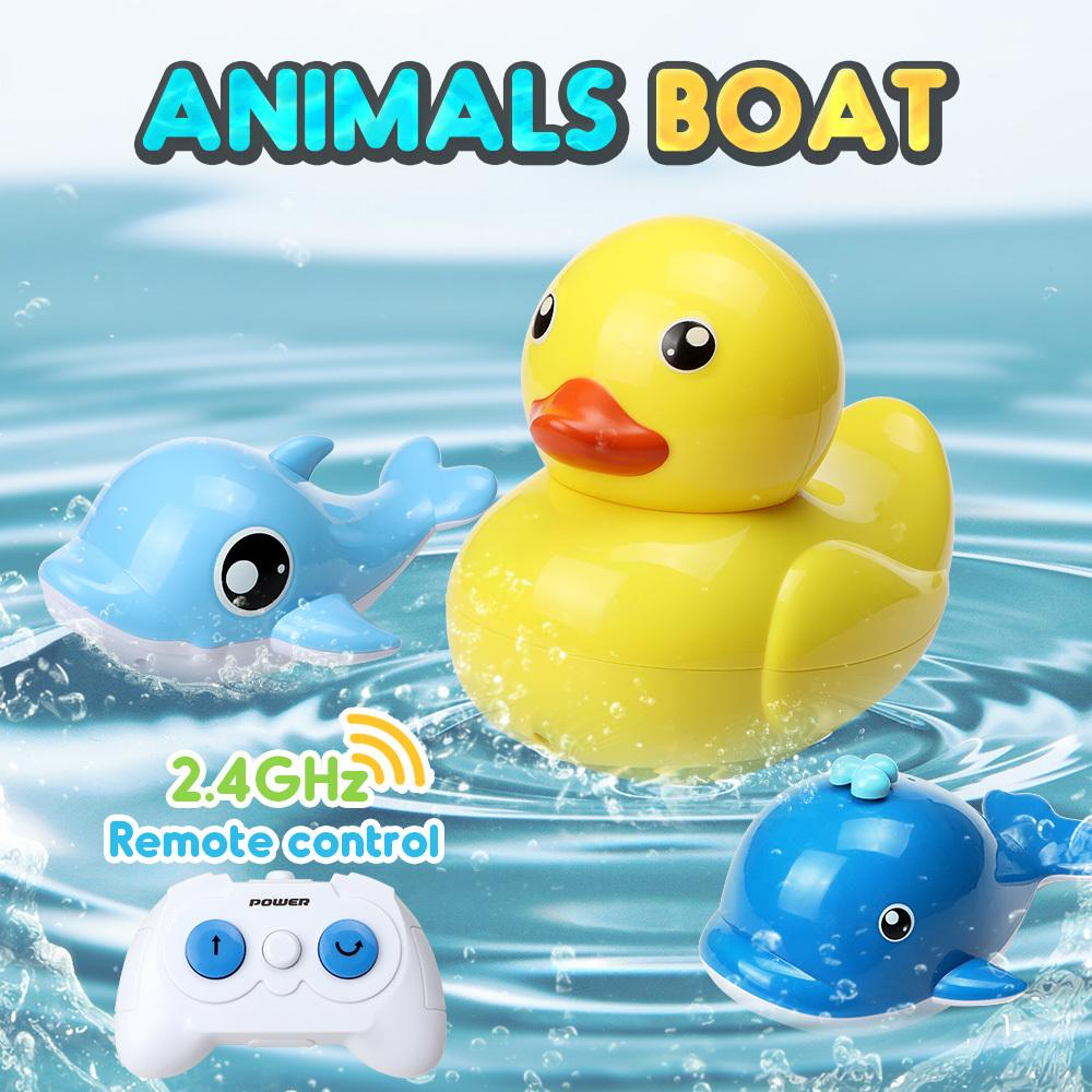 Animals RC Boat 2.4G 2 Function Land driving 3 Channels RC Fun Remote Control Mini RC Racing Boat Model Speedboat Kid Gift Y200317