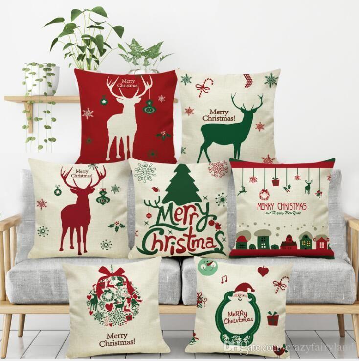 Рождественская наволочка 114 стилей белье Санта-Клаус дерево Снеговик Лось наволочка домашний офис диван автомобильный декор 45*45 см рождественские подарки наволочка