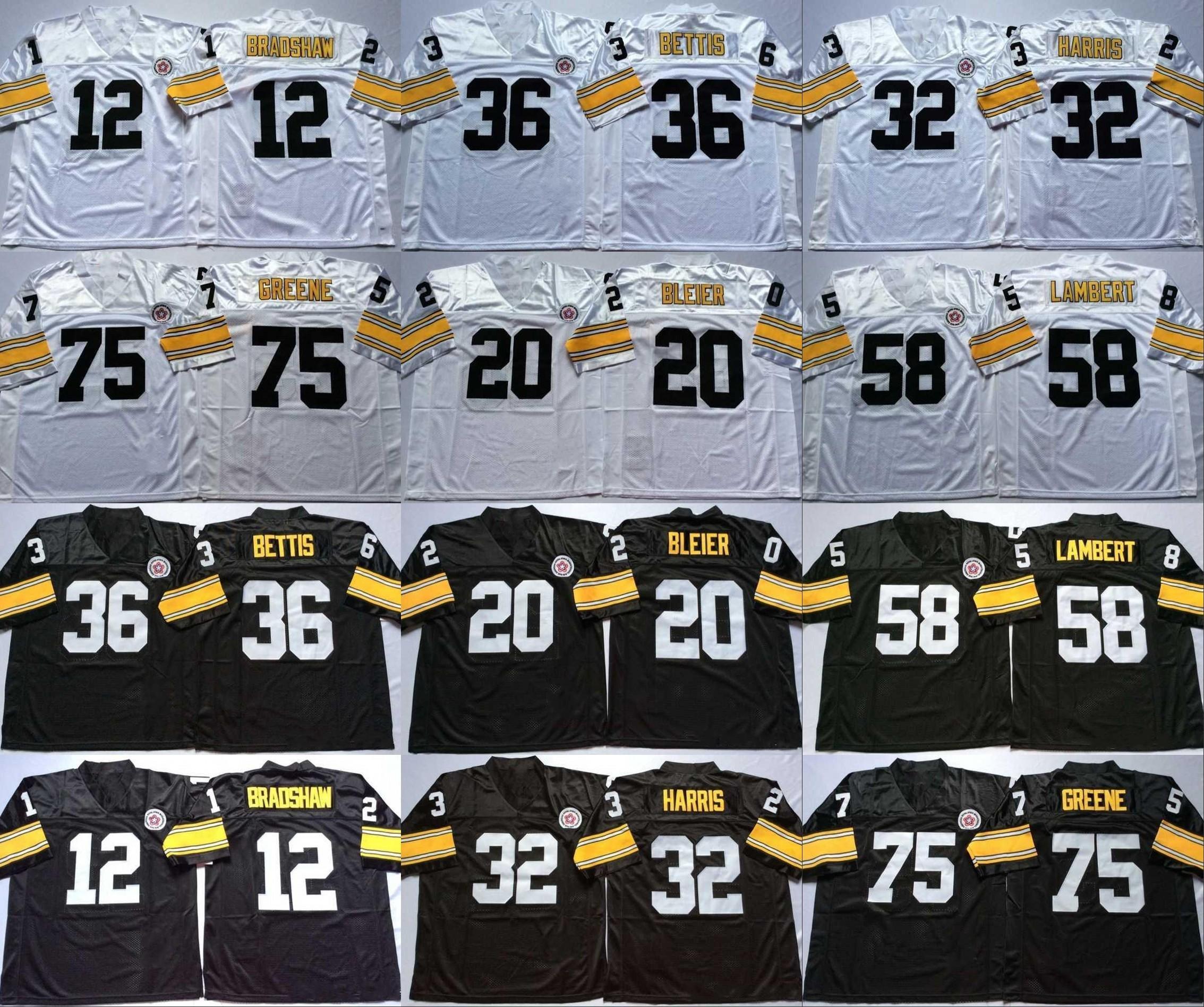 12 Terry Bradshaw 20 Rocky Bleier 32 Franco Harris 36 Jerome Bettis 58 Jack Lambert 75 Joe Greene Blanco Negro Camisetas de visitante