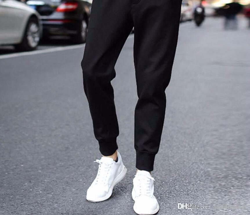 Compre Hombres Casual Pantalones De Chandal Negros Pantalones Lapiz Pantalones Largos Homme Pantalones Chandal Hombre Pantalones De Chandal Para Hombre A 11 02 Del Just4urwear Dhgate Com