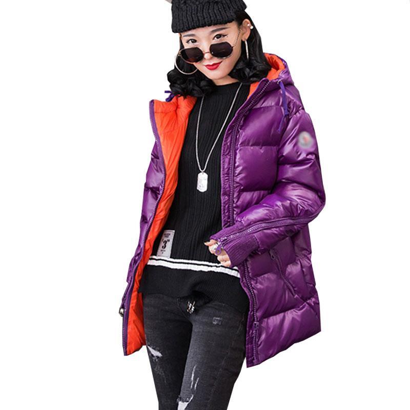 2018 chaqueta de las mujeres del invierno con capucha esquimal de la manera brillante por la chaqueta Escudo espese el algodón chaquetas de las mujeres a corto Bombardero de Calle 039