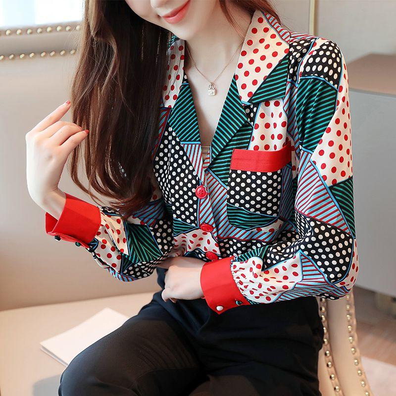 Kadın Baskı Bluz Gömlek 2020 Kadın Uzun Kollu Gömlek Zarif V Yaka Bluz Bayanlar Kore Ofis Tops Mavi Yeşil Giyim