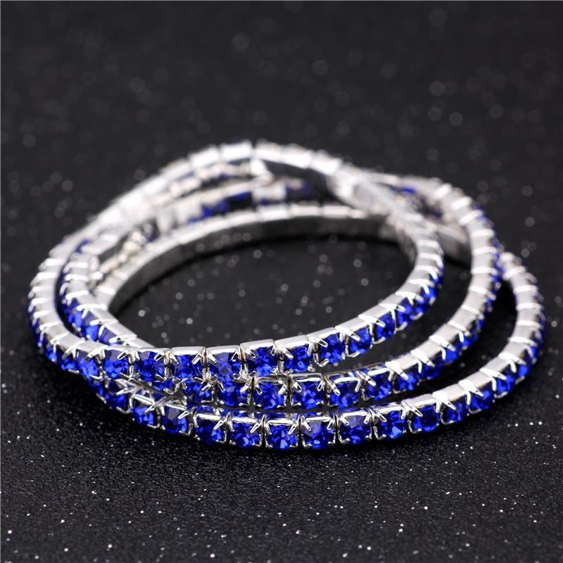 3.6mm 1 Satır Rhinestone Kristal Bilezik Streç Manşet Bileklik Kadınlar için Lüks Tasarımcı Düğün Bilezik Takı Dostluk Hediye 16 renkler