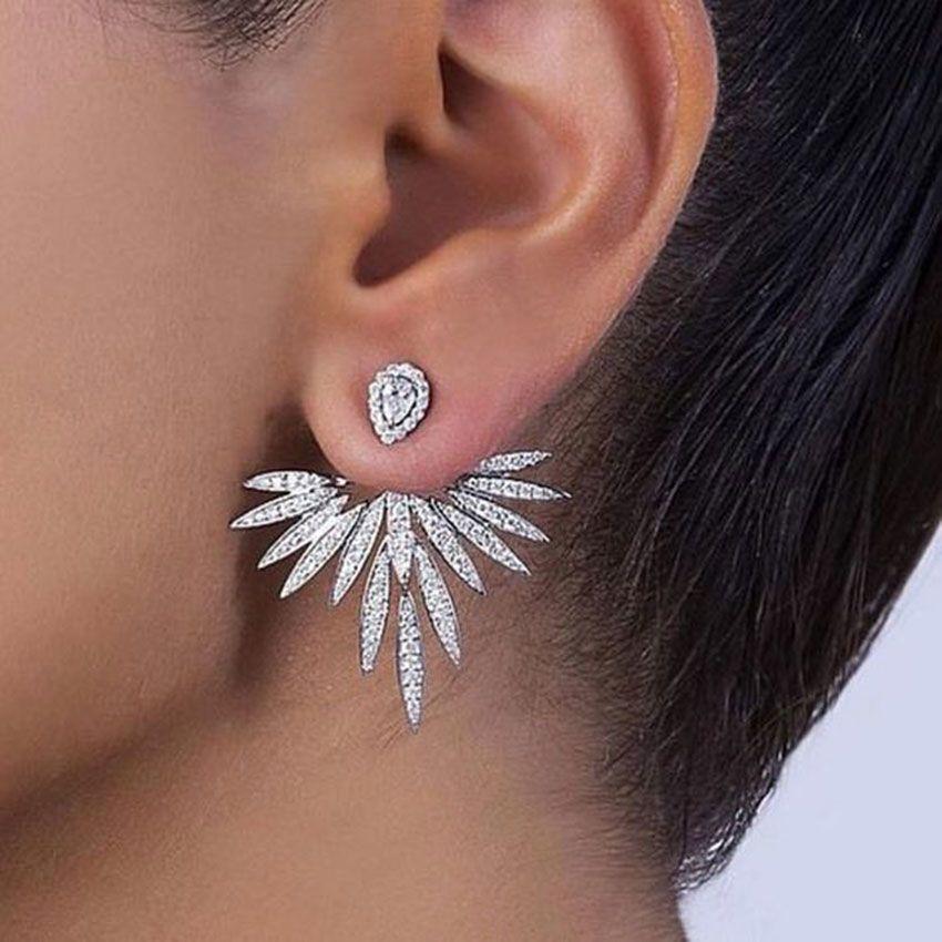 GODKI Luxe Trendy Fleur de Lotus pleine Mirco Pavée cristal Zircon Naija mariage Boucles d'oreilles pendantes bijoux à la mode G289 CJ191116