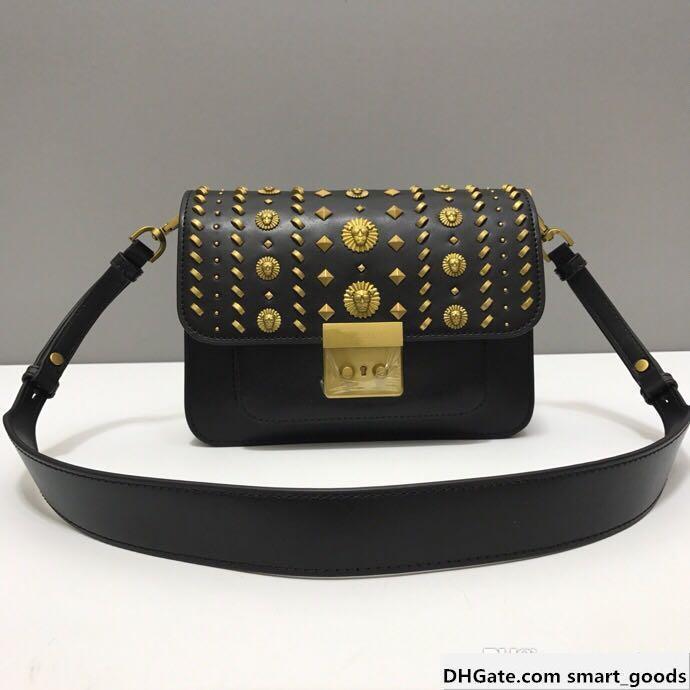 2019 Women S New Handbag American Designer Cross-body Bag Leather To Create Metal Patterns Decorative Fashion Retro Style