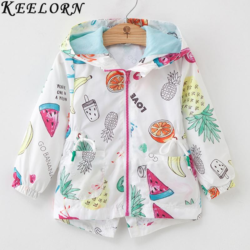 Keelorn Girls Coats 2018 New Autumn Fashion Cartoon Fruit Jacket Animals Full Sleeve with Zipper Kids Outerwear Boys Coat 3T-7T