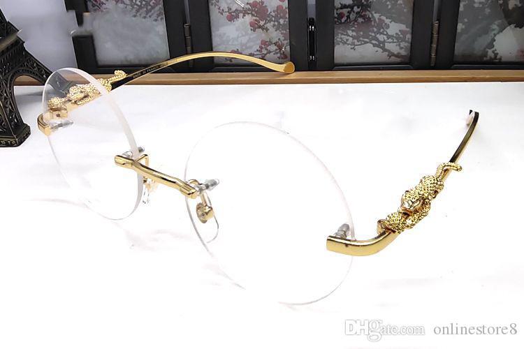 البلا المعدنية ليوبارد نظارات شمسية رجالية سبيكة بافالو القرن نظارات بدون إطار جولة النساء نظارات شمسية دائرة Oculos دي سول ذكر لل