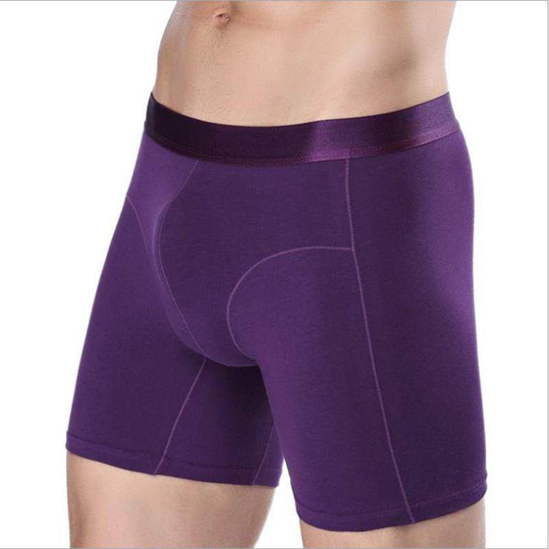 Les hommes occasionnels Boxer Taille Plus long Boxer Homme Sous-vêtements violet coton rouge Homme Caleçon Cueca Trunks Sous-vêtements