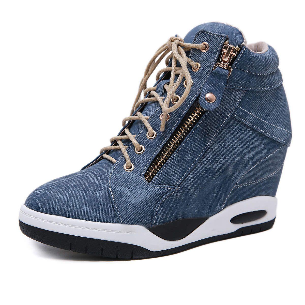Ladies Wedge Sneakers Women Shoes High