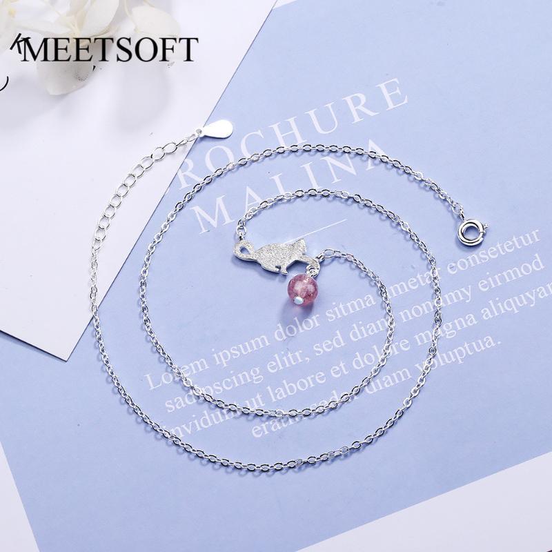 قلادة القلائد meetsoft 925 الفضة necklac الحد الأدنى الترقوة سلسلة الإناث smiple الفراولة الكوارتز orb ليتل كات الملحقات هدية