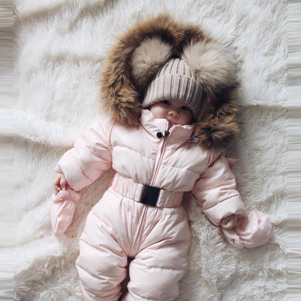 winter baby overalls 2019 Newborn Winter Rompers warm overalls for girls Designed for Russian baby snowsuit hooded #G2