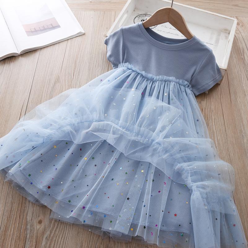 Детское платье звезды блестки Девушки платье 2020 лето
