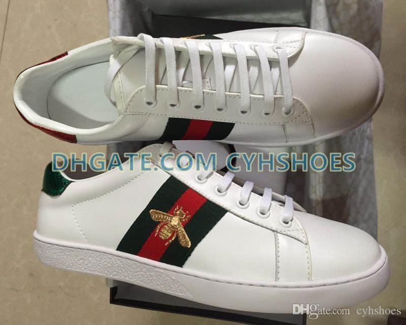 Zapatos de calidad superior de diseño en Nueva BEE bordado con web Para Hombres Mujeres ACE genuino cuero del diseñador zapatillas de deporte blanca de los zapatos ocasionales de la mejor venta