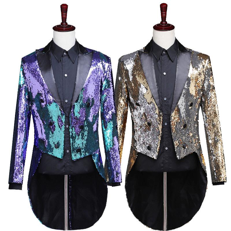 Men Suit Jacket 2019 New High Tuxedo Blazer Fashion Stage Costumes For Singers Performance Mens Dress Suits Jackets Gold Sequin