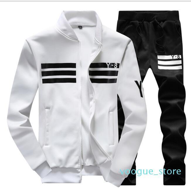 Мужская спортивная одежда толстовка и толстовки черный белый весна осень Бегун спортивный костюм Мужские спортивные костюмы комплект плюс размер M-4xl