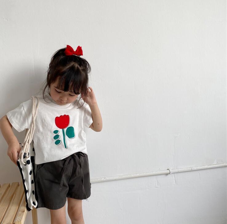 2020 chicas nuevas chicas de moda de algodón de manga corta camiseta de Verano Primeros 1-7 t HV315