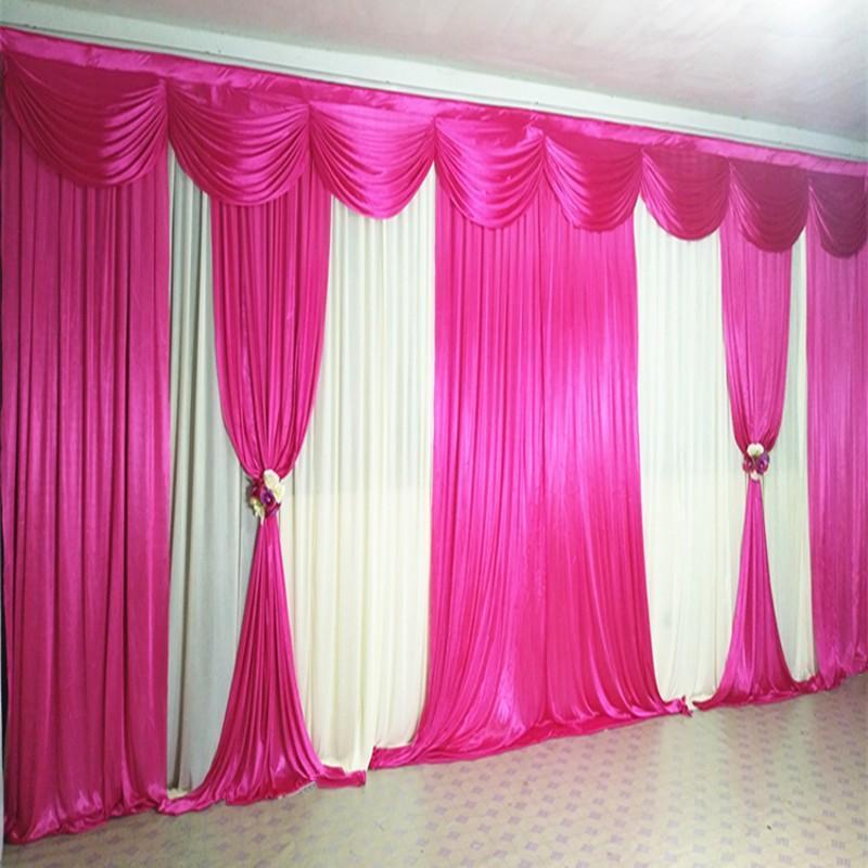 10ftx20ft Pink Pailletten Hochzeit Hintergrund mit Swag Hintergrund Hochzeitsdekoration romantische Eisseide Bühne Vorhänge Vorhang