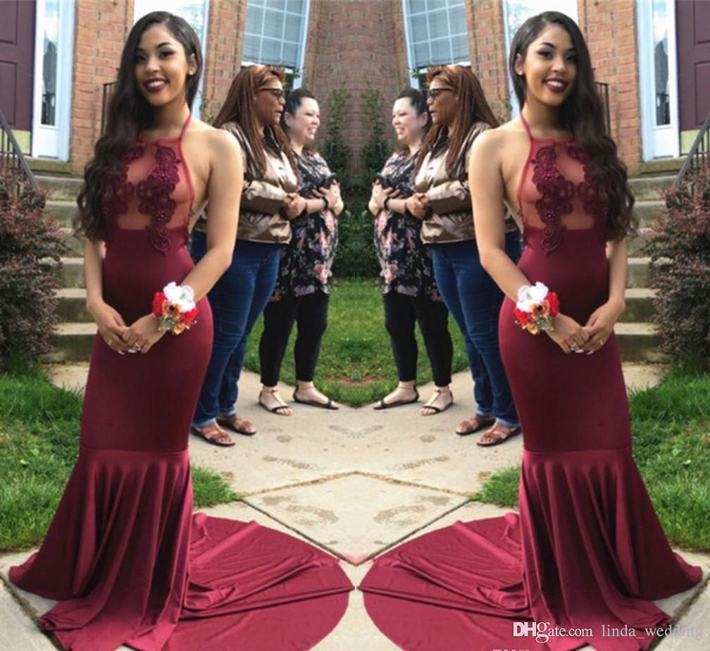 Halter-Abend-Kleid mit Applikationen lange formale Urlaub Wear Prom-Partei-Kleid nach Maß Plus Size