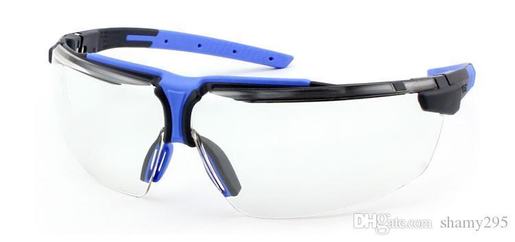 Óculos de segurança transparente PC Lens Wear-resistant Anti-impacto de protecção Óculos Anti-fog Dustproof Trabalho equitação Goggles frete grátis New