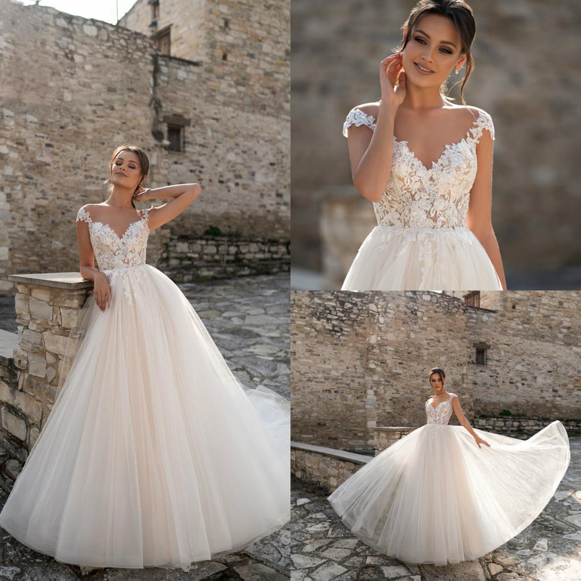 Vestido de Noiva 2021 Vestidos de casamento V Neck mangas cobertas apliques vestidos de noiva Custom Made Trem da varredura A linha Robe De Mariee