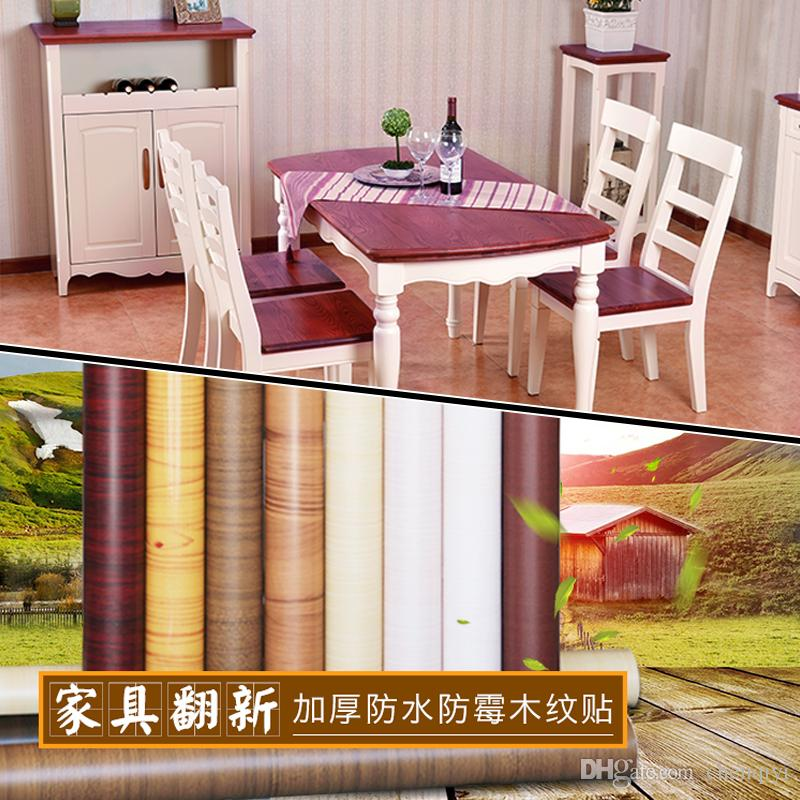 DIY Thick PVC waterproof self-adhesive furniture renovation stickers wood grain Boeing film wallpaper wall decor film wardrobe door stickers