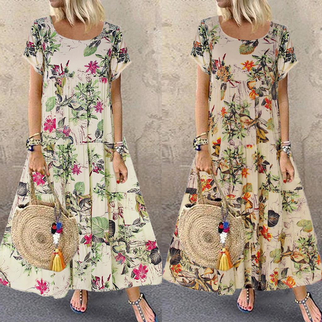 Women Casual Elegant Fashion Summer New Fashion Womens Plus Size Casual Short Sleeve Boho Retro Linen Print Long Maxi Dress Wholesale