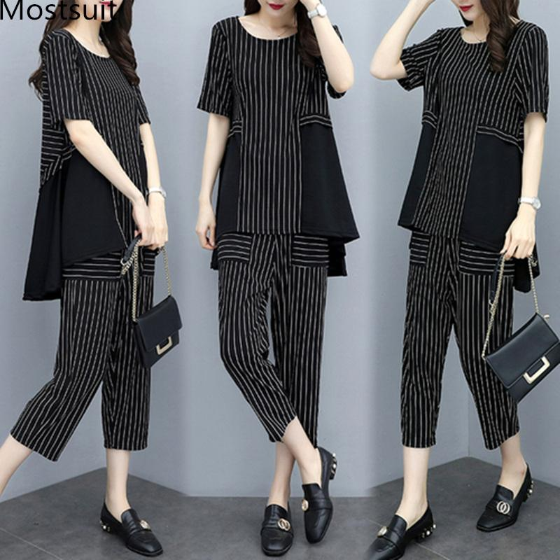 2019 Summer Striped Two Piece Sets Women Plus Size Short Sleeve Tops And Cropped Pants Suits Casual Office Elegant Women's Sets